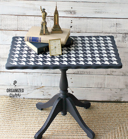 Upcycled Vintage Coffee/Tea Table with Dixie Belle Paint & Old Sign Stencils.