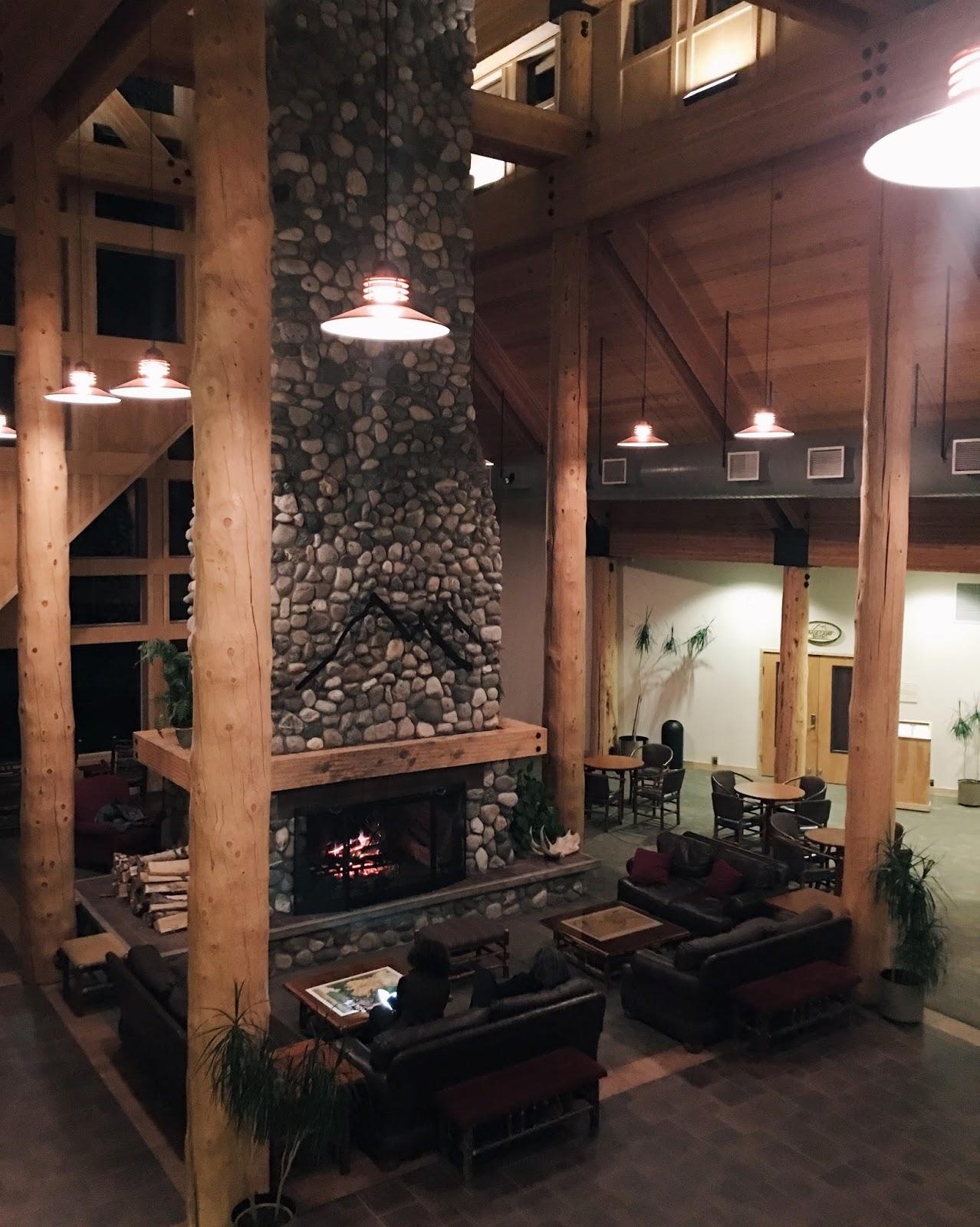 alaska lodging stone fireplace