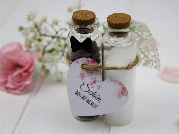DIY - Gastgeschenk Pfeffer und Salz für die Hochzeit ganz einfach selber machen + gratis Vorlage