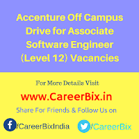 Accenture Off Campus Drive for Associate Software Engineer (Level 12) Vacancies