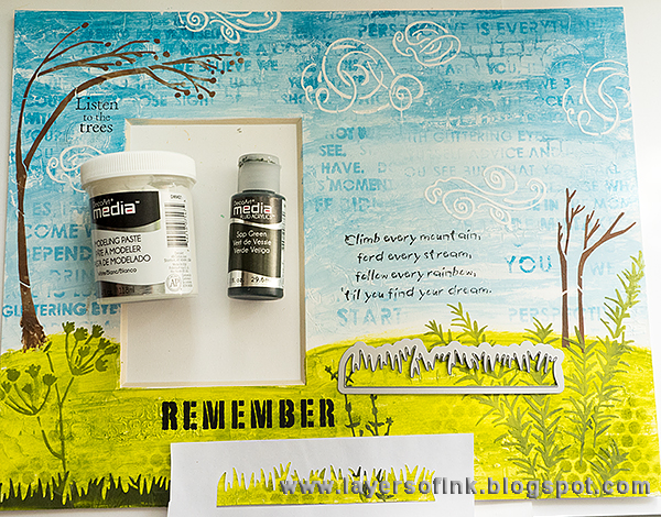 Layers of ink - Climb Every Mountain Mixed Media Tutorial by Anna-Karin with Sizzix dies by Eileen Hull, Crescent mat board, DecoArt Media and StencilGirl stencils.
