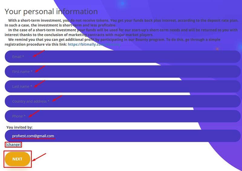 Регистрация в BitMally 2