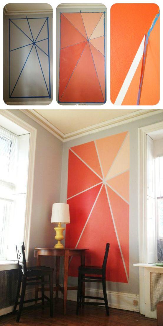 blog Achados de Decoração.  Pintura de parede geométrica