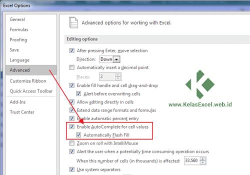 Cara Mengaktifkan Fungsi Flash Fill di Excel