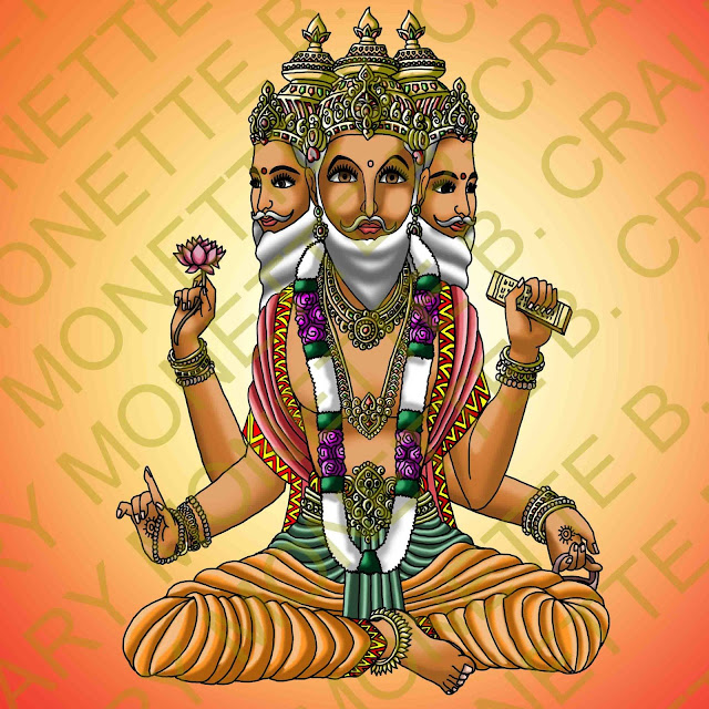Lord Brahma Painting HD Wallpaper