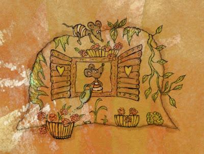 Illusztráció gyerekvershez, digitális vízfestményen két szürke mezei egér üregben, egyik virágot locsol, másik a frissen kinyílt muskátlikra mutat.