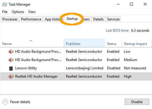 Nonaktifkan aplikasi startup Windows 10 melalui Task Manager