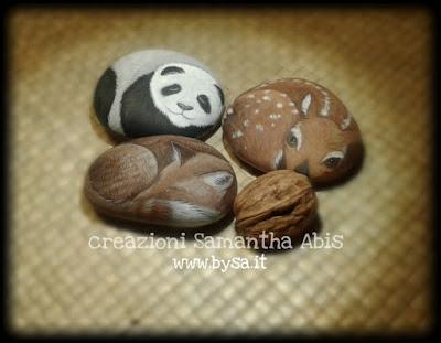 sassi dipinti volpe cerbiatto panda bomboniere matrimonio