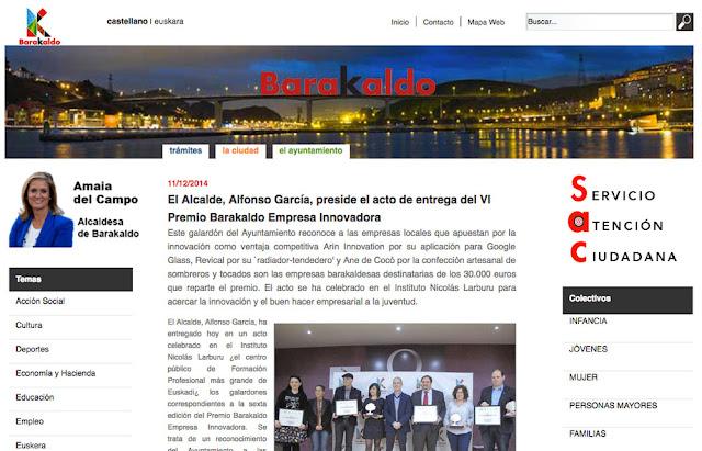web del Ayuntamiento con una noticia de la etapa socialista de Gobierno