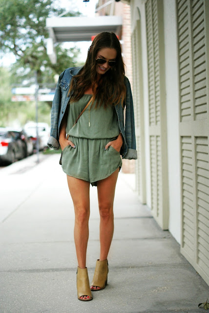 Romper with jean jacket and booties