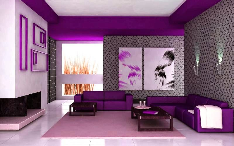 Dekorasi Ruang Tamu Minimalis Dengan Nuansa Warna Ungu Tampak