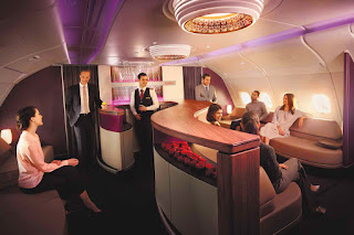 In-flight lounge on Qatar A380