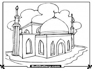 Mosque Kids Coloring Pages Printable