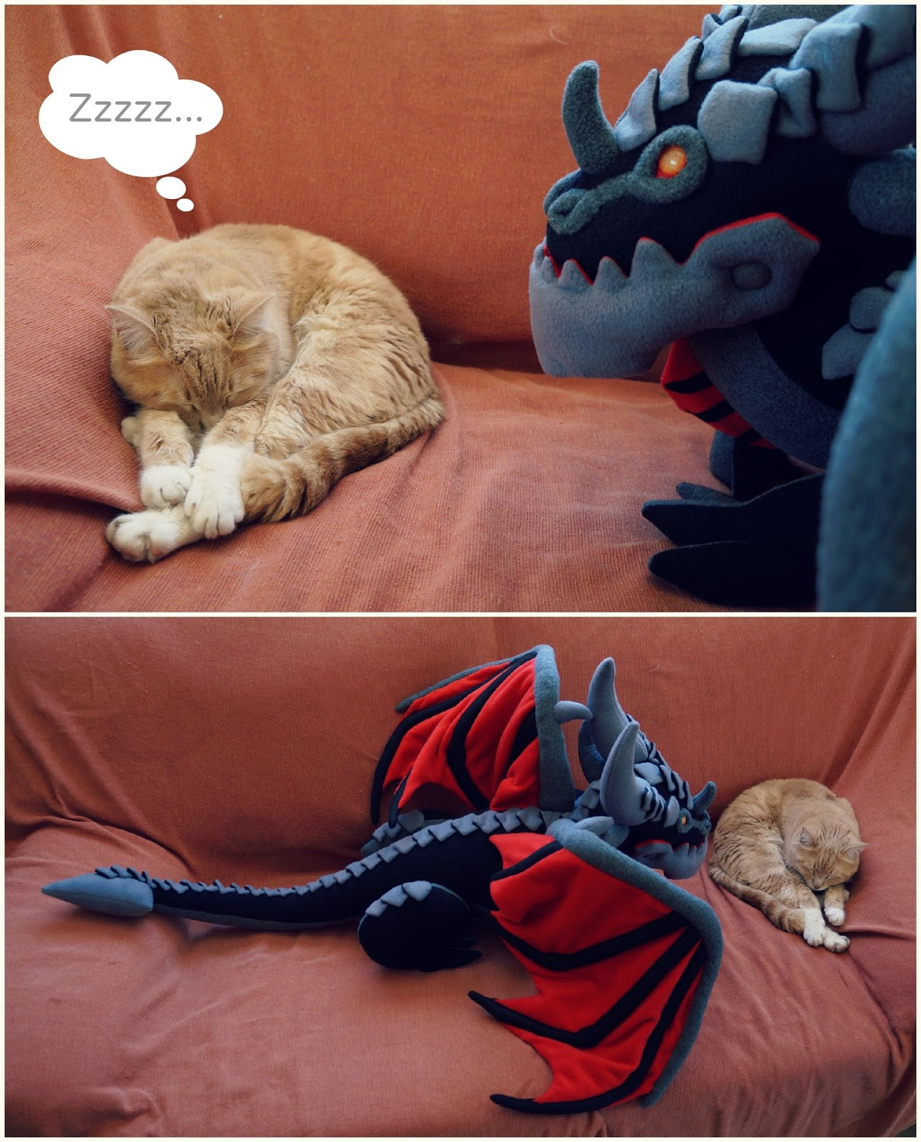 Gato Peluso y peluche Deathwing, el dragón de World of Warcraft