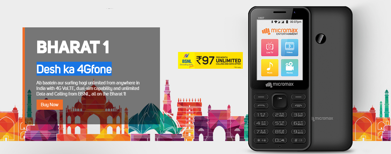 Micromax 4g Mobile Under 2000 Rs - Bharat 1 Specifications & Price
