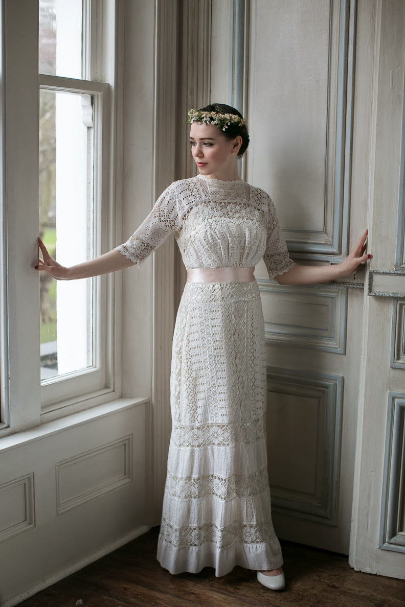 my vintage gowns wedding dresses Edwardian wedding dress in white lace with s slip SOLD