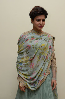 Samantha Ruth Prabhu in a Beautiful Designer Light Green Anarkali Dress with Chunni at Policodu Press Mee