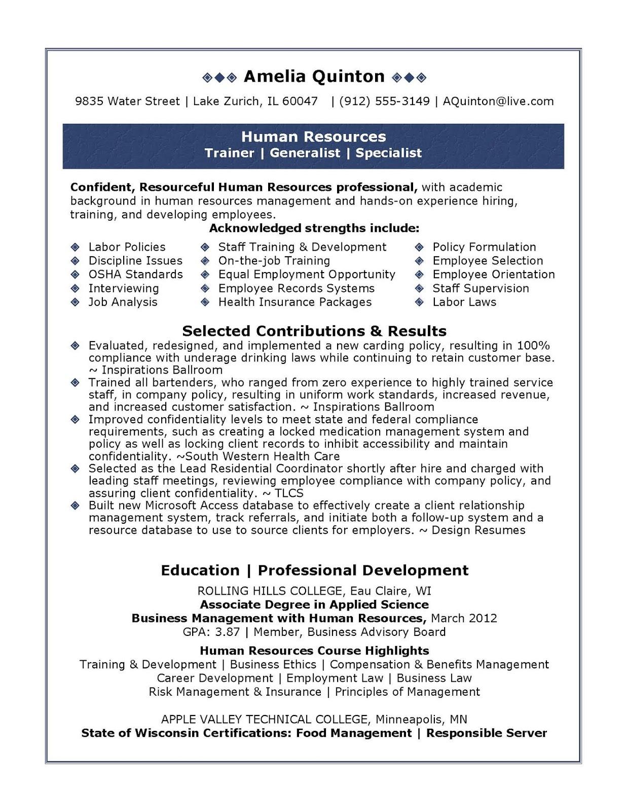 human resources sample resume