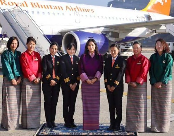 female Captain, Ugyen Dema, Sr. First Officer, Sonam Lhamo, and the country's first female licensed flight engineer, Sonam Deki Tshering