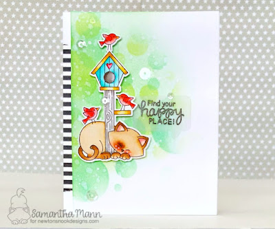 Find Your Happy Place Card by Samantha Mann, Newton's Nook Deisgns, handmade cards, distress ink, cats, bokeh #inkblending #newtonsnook #cards