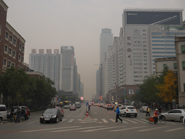 Polluted air over Nanjing North Street in Shenyang, China