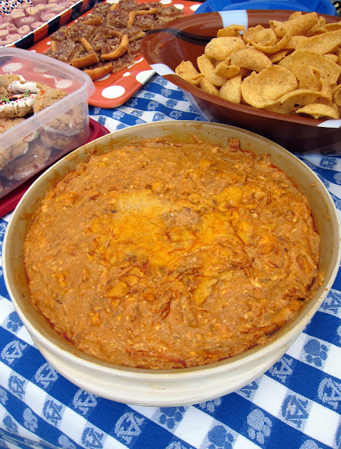 Chili Cheese Dip - chili, cream cheese and cheese - everyone loves this dip! We never have any leftovers! Only 5 ingredients. Can make ahead and refrigerate until ready to bake. Everyone RAVES about this easy party dip recipe!