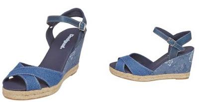 sandalias de cuña color azul de Desigual