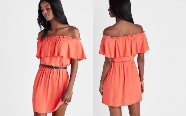 Express Ruffle Off the Shoulder Dress $42 (reg $70)