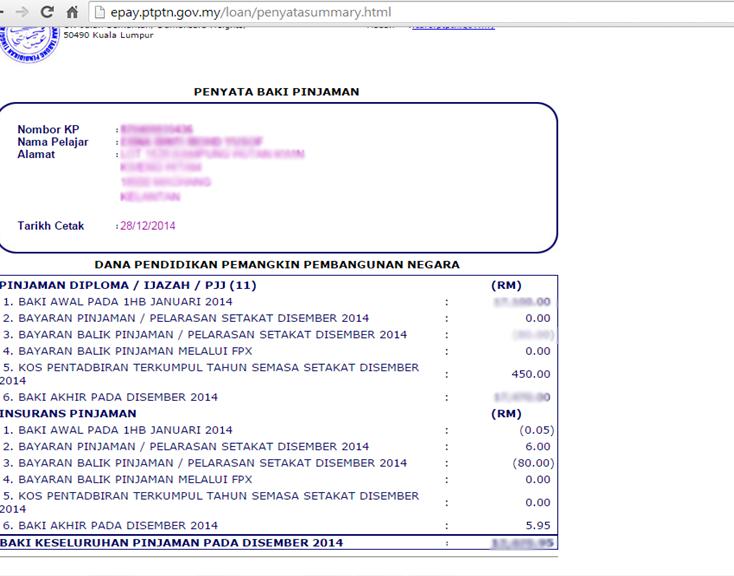 Semak Status Permohonan Penyata Baki Pinjaman Ptptn Online Cute766