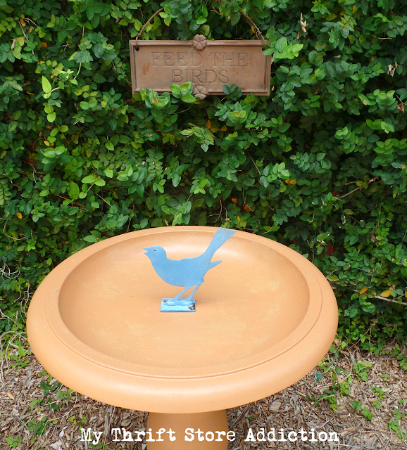 bird bath upcycle with terracotta patina