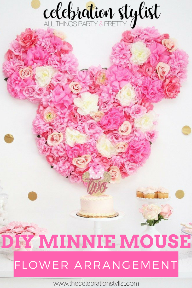 Beautiful DIY Minnie Mouse Flower Arrangement by popular party planning blogger, The Celebration Stylist
