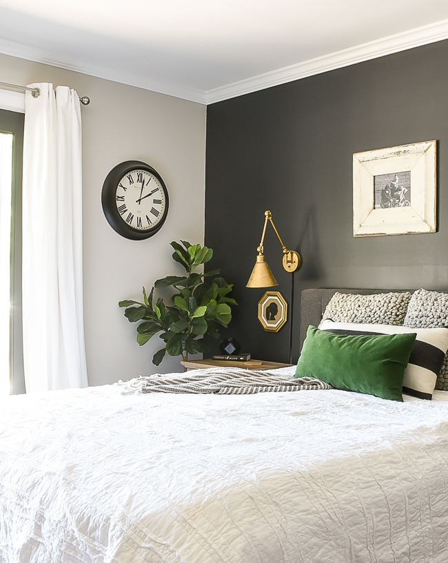 High contrast modern farmhouse master bedroom