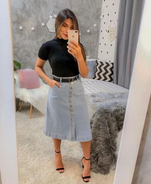 15 Ideias de looks tumblr com saia jeans midi
