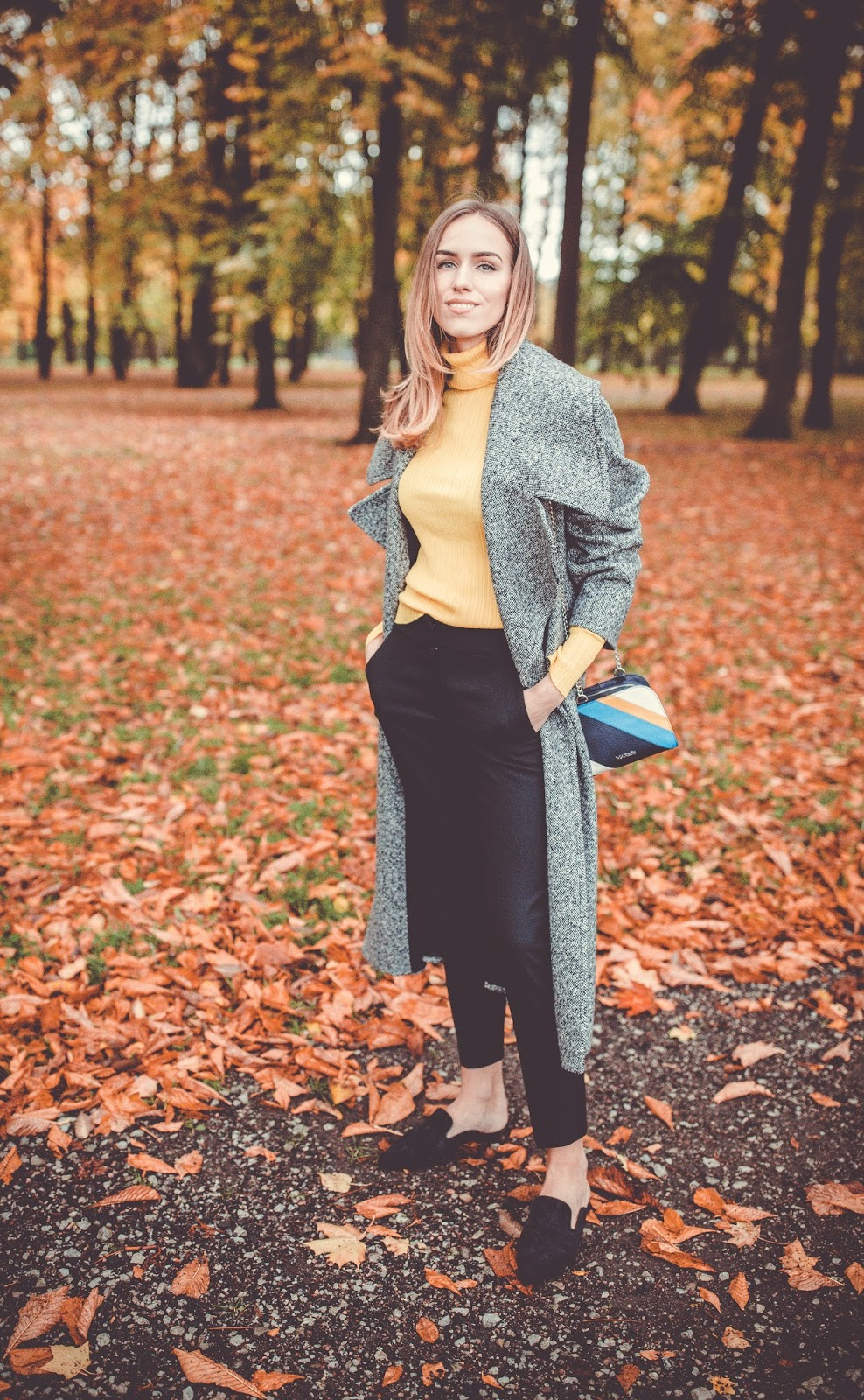 yellow turtleneck oversized coat fall outfit