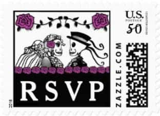 Halloween Wedding Skeletons Custom Postage RSVP Purple Roses Horizontal Small Postage