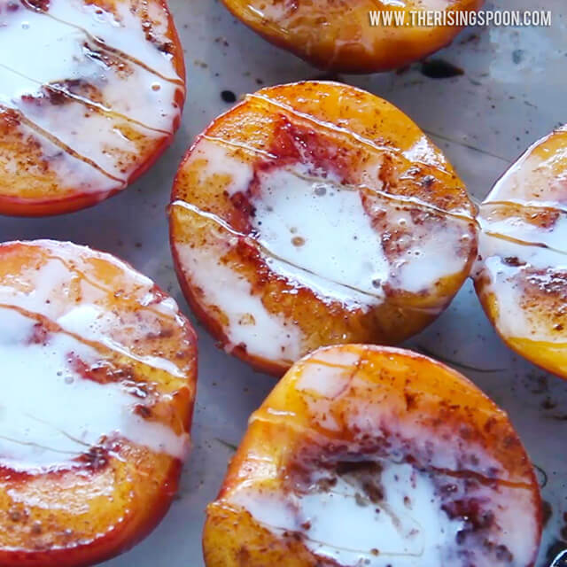 Creamy Pan-Fried Peaches with Cinnamon & Honey {Dairy-Free}