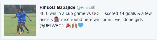 Nigeria-born Rinsola Babajide Nets 14 goals in UEL Women's 40-0 win