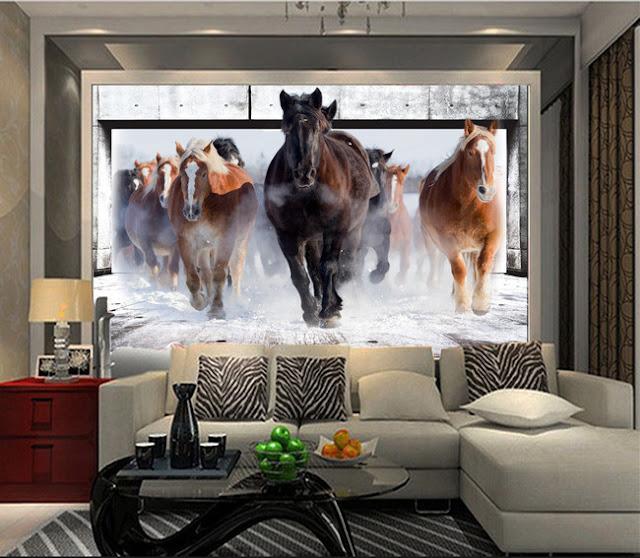 tapet hästar bruna fototapet snö fondtapet 3d tjejrum tjejtapet