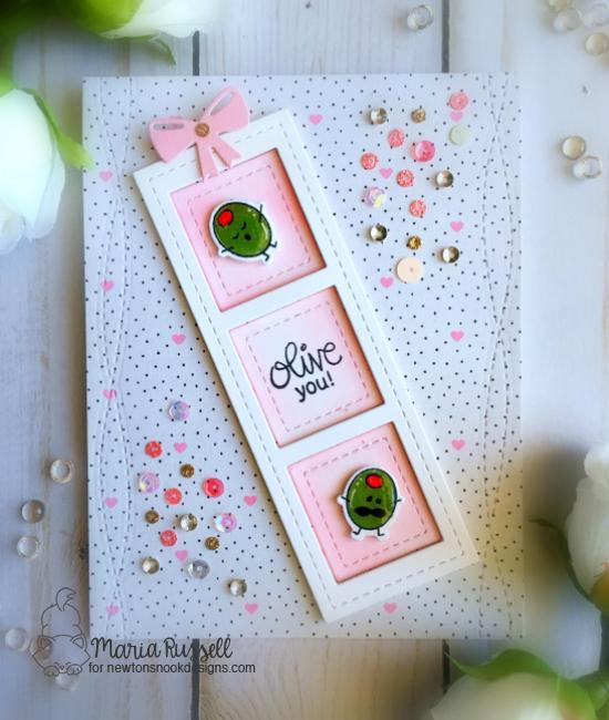 Olive You valentine card by Maria Russell | Love Bites Stamp Set by Newton's Nook Designs #newtonsnook #handmade