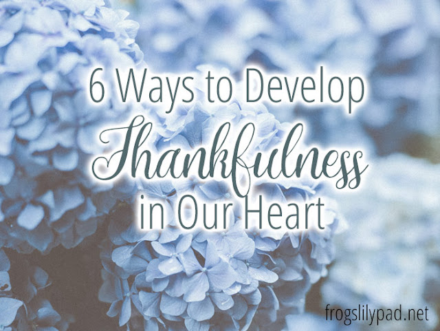 """Ways to Develop Thankfulness Thankful Journal – I can't think of a better way to be reminded of what we are thankful for. Whether it is an actual journal, or a few lines in your Bible reading journal; writing down a few things you're thankful for on a daily basis will help.  Thank You Notes – I'm a big advocate of writing Thank you notes. Yes, they take time, but the receiver will know you made the effort to share your thanks with them. Hand written is always best and will be appreciated more than an email.  Care Packages – we all know someone who would be happy with a surprise package. An elderly family member, friend, or neighbor, a college student, and even military personnel would love to receive a package made especially for them. Mints, lotions, snack foods, magazines, games, and socks are just a few items you could include. It doesn't have to be full of expensive items because it's coming from the heart.  Tell Another Person What They Mean to You – Encouraging words from others can brighten the day for a person. For some, they may be at a point in life to give up and hearing kind words about them will give them that bit of hope they need.  Focus on Real Life – I hate to tell you, but social media is not real life. Real life is what is going on around you right now. Turn off the electronics and focus on your home, children, and extended family members.  Share a Meal – Know a busy mother who could use an extra hour or two a day? Cooking a meal and sharing it with a family for a """"just because"""" reason will open time up for her and it will give you a chance to help another family out.  While there are literally hundreds of ways to develop thankfulness in our heart, these six ways are rather simple enough to do on the spur of the moment.  Do you have any other ways to develop thankfulness you could share?"""