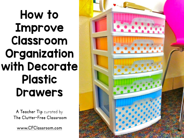 Are you hoping to improve your classroom organiztion? This classroom organization tip from the Clutter-Free Classroom will show teachers how to decorate plastic storage drawers.