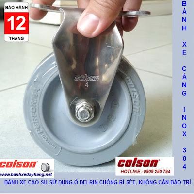 Bánh xe cao su 100x32mm càng inox 304 cố định Colson | 2-4408-444 www.banhxepu.net