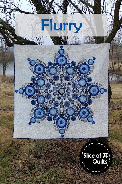 Flurry quilt pattern by Slice of Pi Quilts; Modern snowflake quilt using Island Batik Alpine Ice fabrics
