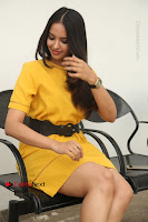 Actress Poojitha Stills in Yellow Short Dress at Darshakudu Movie Teaser Launch .COM 0290.JPG