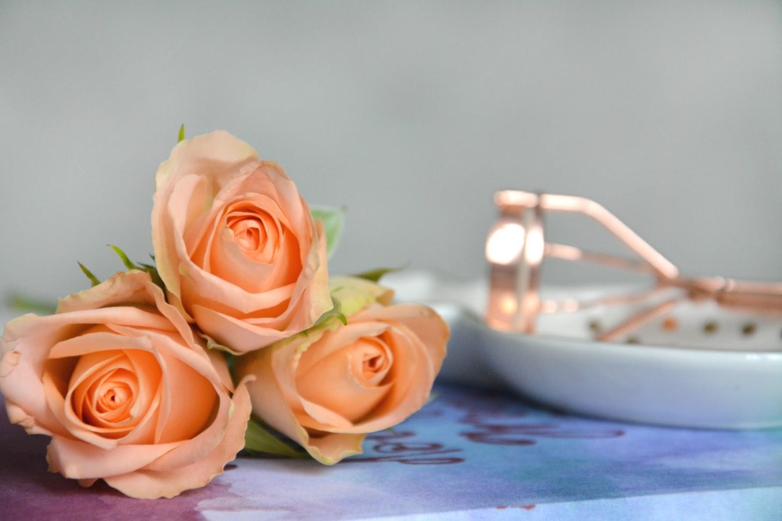 Primark Rosegold Eyelash Curler; Hema Notebook; Fresh Roses; Primark Pineapple Dish