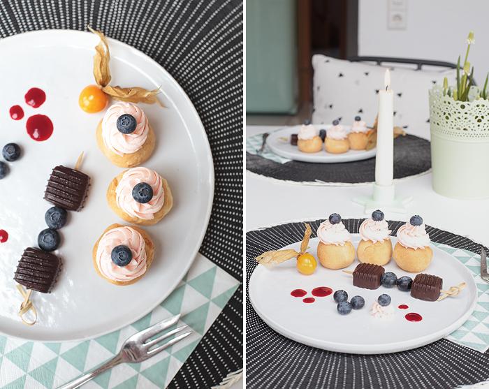 Windbeutel mit Himbeeren Himbeertopping Topping Eiskonfekt Bofrost Dessert