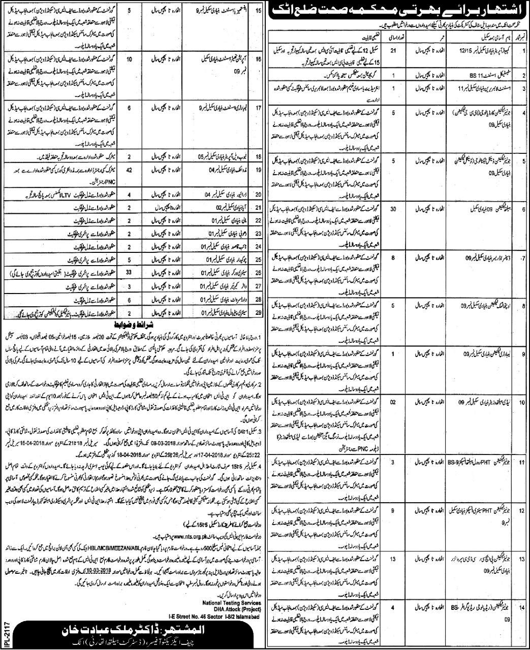 Jobs In Health Department Govt Of Punjab 2018 BS [1-15]