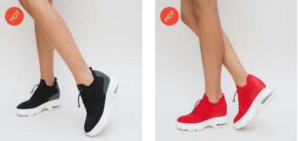 Pantofi Sport din material textil negri, rosii moderi cu platforma