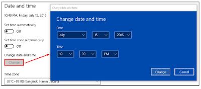 Rincian pengaturan dan tanggal