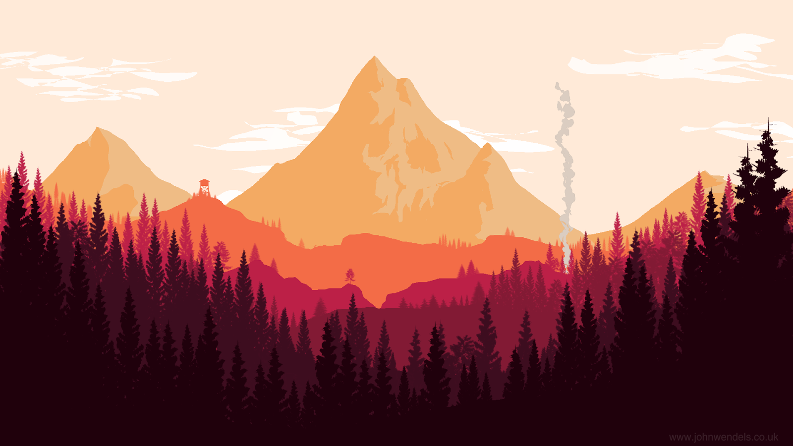 Firewatch Olly Moss Inspired Landscape